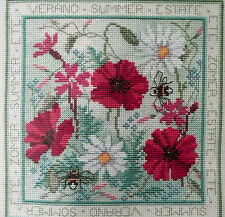 Counted cross stitch kit Summer Flowers poppies Derwentwater 14ct zweigart Aida