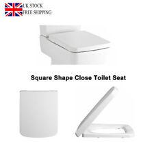 Luxury Toilet Seat Soft Close Square Shape Easy Remove Install Wash Pure White