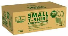 New 2000 Small T-Shirt Carry Out Retail Plastic Bags Recyclable Grocery Shopping