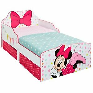 HelloHome Minnie Mouse Toddler Bed with Underbed Storage, Wood, White, 143x77cm