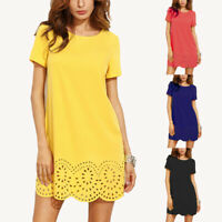 UK Womens Summer Short Sleeve Casual Baggy Hollow Lace Dress Ladies Mini Dresses