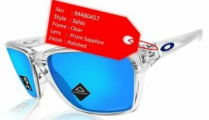 Oakley Sylas Polished Clear Frame Prizm Sapphire Lens Sunglasses 0OO9448