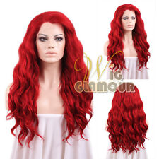 """Long Curly Wavy 24"""" Dark Red Lace Front Synthetic Wig Heat OK"""