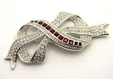 Vintage Signed Swarovski Ribbon Red Ruby Stone Brooch Pin
