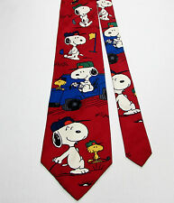 Peanuts JOE GOLFER 100% Silk Novelty Tie Golf Cart Snoopy Woodstock Sport Fore