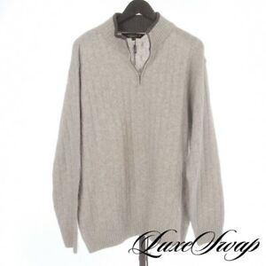 NWOT Iceland Made in Italy Smoke Grey Cableknit 1/2 Zip Knit Roadster Sweater XL