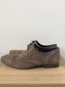 Mens River Island Size 10 Faux Suede Brogue Shoes - Worn but in good condition