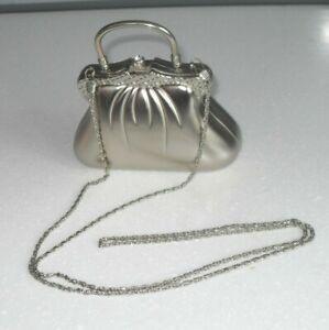 HUDSONS FARFALLA COLLECTION  Beautiful Silver Small Ornate Bag with Diamantes