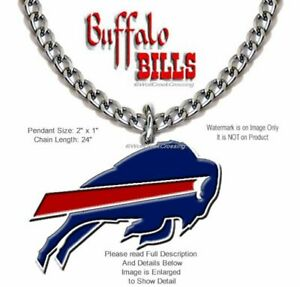 LARGE BUFFALO BILLS NECKLACE STAINLESS STEEL CHAIN - NFL FOOTBALL FREE SHIP NEW'