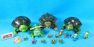 Lot of Vintage 1994 Micro Mutants Toys TMNT- 3 Playsets, 6 Figures, and Vehicles