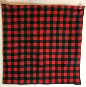 Orange and Black Small Buffalo Plaid 16 x 16 Flannel Pillow Cover