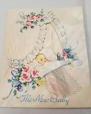 Vintage New Baby Greeting Card Artistic Unused Roses Graphics Congratulations