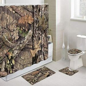 Camo Hunting Shower Curtain Set and Rugs 69x70 Inch, Bathroom Mat Set