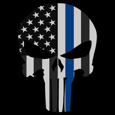 Punisher Skull American Flag Police Thin Blue Line Car Truck Decal Sticker Usa