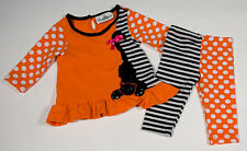 RARE EDITIONS BABY GIRLS 6M OUTFIT HALLOWEEN KITTY CAT DOTS TOP LEGGINGS SET