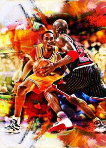 2021 Kobe Bryant Lakers Michael Jordan Bulls 4/25 Art ACEO Print Card By:Q