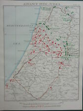 1918 WW1 MAP EGYPTIAN EXPEDITIONARY FORCE ADVANCE INTO JUDEA 6pm DEC 7 6pm 1917