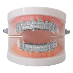 Hip Hop Grills Big 8 Top and 8 Bottom Set Full ICED 5A+ CZ Bling Teeth Grillz