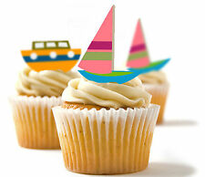✿ 24 Edible Rice Paper Cup Cake Toppings, Cake decs - Boats sailing ✿