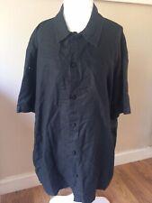 Calvin Klein Mens Button Short Sleeve Black Shirt Size L