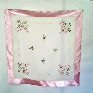 Unbranded square table topper 33.5 inches x 33.5 inches pink Satin trim & roses