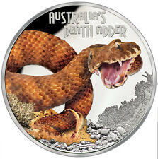 Tuvalu Death adder Deadly and Dangerous 1 Ounce Silver colored 2016