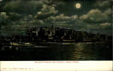 New York City USA vintage postcard ~1900 River Front by night Ship Schiff Mond