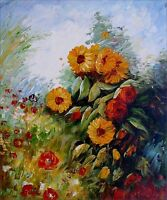 Quality Hand Painted Oil Painting Field with Wild Flowers 20x24in