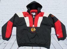 Vintage STARTER Chicago Blackhawks NHL Pullover Hooded Puffer Jacket Large