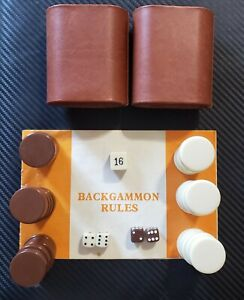 Lot Backgammon Replacement Pieces, Checkers - Brown, Cream, Dice