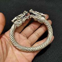 Noble Decor Wonderful Miao Silver Carve Dragon head Lucky Cuff Bracelet bangle