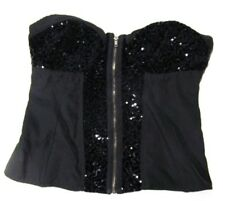 Love Fire Black Sequins Sequined Zip Front Bustier Corset Top Size Medium Lined