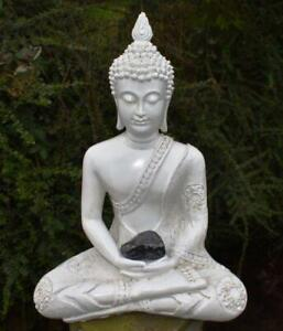 Large Shabby Chic Meditation Buddha With Natural Unique Shungite Crystal