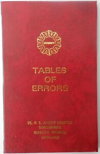W & T Avery Table of Errors for weighscales