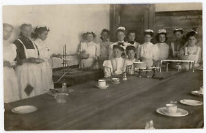 COOKING SCHOOL CHEF COOKS RECIPES MEASURING CUP SCALES REAL PHOTO POSTCARD RPPC
