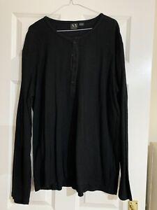 ARMANI EXCHANGE Mens Black Cotton Top - Size XL *BRAND NEW*