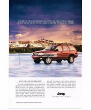 1999 Jeep Flame Red GRAND CHEROKEE Driving On Ice Vtg Print Ad