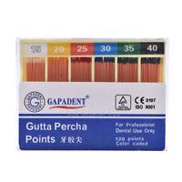 1X FDA CE GAPADENT Gutta Percha Points 0.02 15-40# 120 Points Color Coded Dental