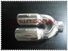 """2.25"""" inlet Stainless steel dual round angle cut rolled Exhaust Tip tailpipe"""