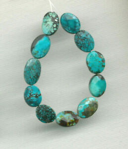 "FACETED HUBEI CLOUD MOUNTAIN TURQUOISE OVAL BEADS - 4.5"" Strand - 8512"