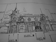 Vintage 1955 Disney Land Magic Kingdom Train Station Blueprint-36x64 Hand Drawn