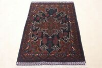 Antique Afghan Brown Wool Rug 3x5ft Turkish Hand knotted vintage oriental carpet