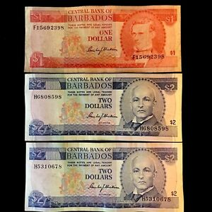 1973 $1 & 1980 $2  BARBADOS BANKNOTES. BETTER BLACKMAN SIGNATURE AND DATES.