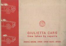 1958 ALFA ROMEO GIULIETTA CARS RICHTZEITEN HANDBUCH TIME TAKEN BY REPAIRS