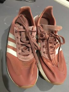 ADIDAS Womens PINK FLASHBACK Shoes, Sneakers Retro, Size 11, Suede, Lace Up EUC