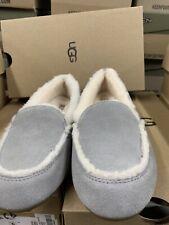 UGG Hailey Gray Suede Sheepskin Loafers Slipper Womens Size 9 Med NIB
