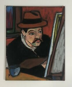 Original Oil Pastel Portrait 'Maurice Utrillo' French Painter Impressionist Era