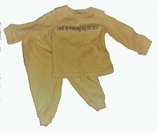 Kidgets 2 piece boy girl outfit 0-3 months long sleeve pants yellow sweatsuit