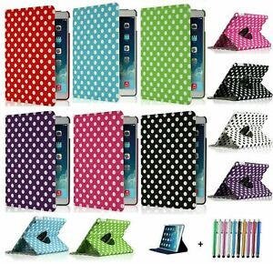 NEW Polka Dot 360° Rotating Smart Stand Case Cover for all iPad generations/AIRs