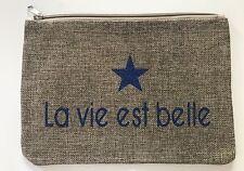 """POCHETTE TROUSSE TOILE DE JUTE """"La vie est belle"""" Bleu paillette voyage plage"""